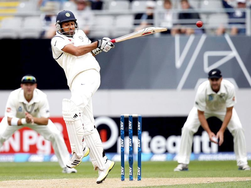 Rohit Sharma hits a ball for four on day two of the first Test against New Zealand at Eden Park in Auckland. (Reuters Photo)