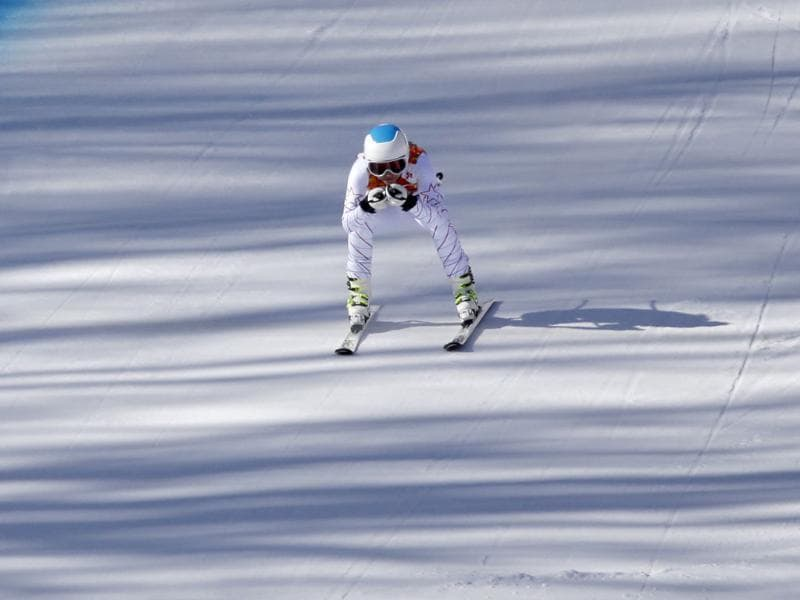 United States' Julia Mancuso nears the finish area during a women's downhill training run for the Sochi 2014 Winter Olympics in Krasnaya Polyana, Russia. (AP photo)