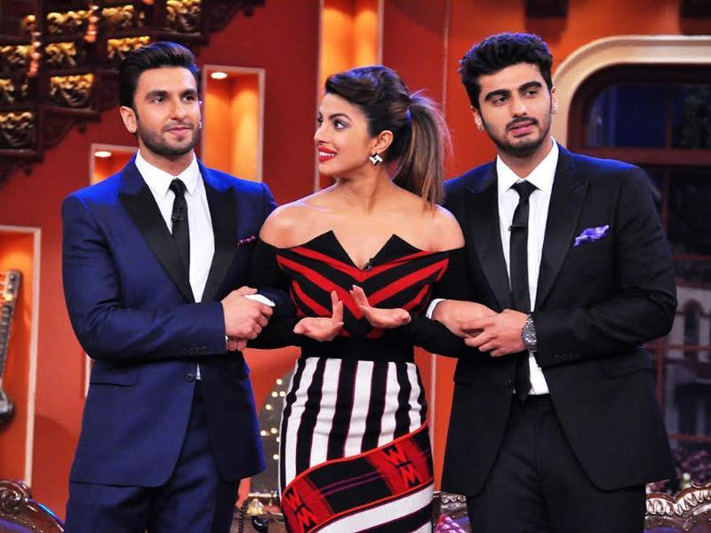 The two Gunday, Arjun and Ranveer, with their love interest in the film, Priyanka Chopra.