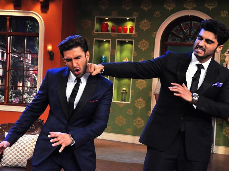 The Gunday team visited Comedy Nights with Kapil's sets recently and fun time was had by all. Pictured here are Ranveer Singh and Arjun Kapoor as they share a light moment.