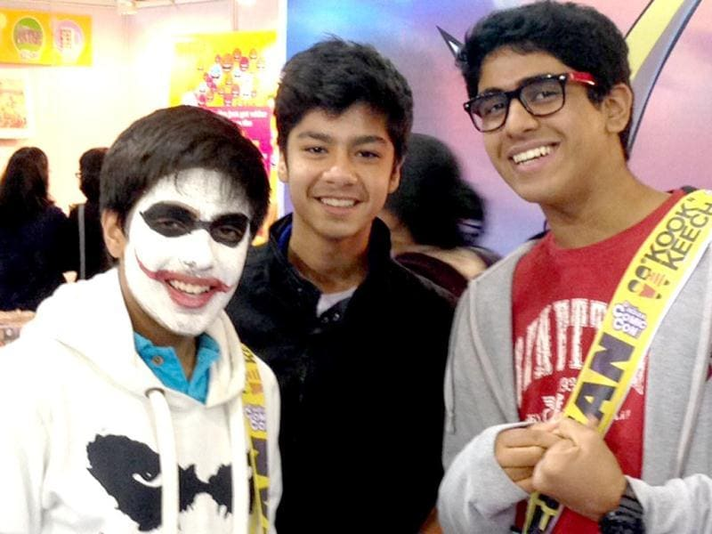 The Joker with his friends at the Comic Con Fest being held at Tyagraj Stadium in New Delhi. (HT Photo)