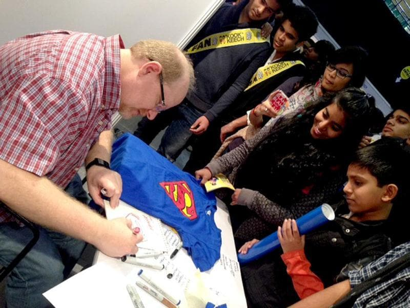 Mark Waid, noted American comic writer who wrote for Marvel Comics and DC Comics, at the Comic Con in New Delhi. (HT Photo)