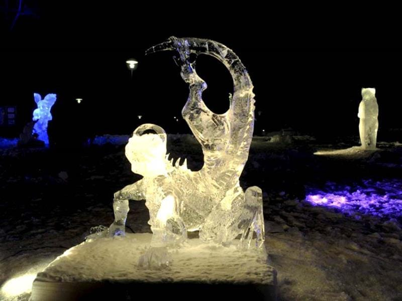 The ice sculpture Samba by Mongolian artist Lkhagvadorj Dorjsuren pictured during the international ice sculpting festival Art Meets Ice in Korkeasaari Zoo in Helsinki. (AFP Photo)
