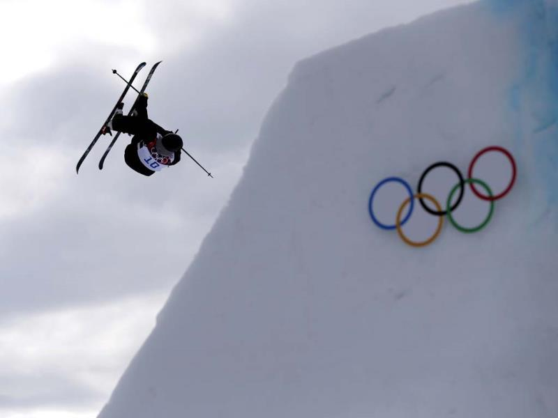 Switzerland's Fabian Boesch takes a jump during freestyle skiing slopestyle training at the 2014 Winter Olympics. (AP Photo)