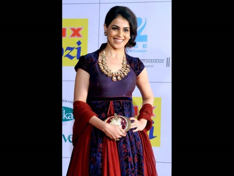 Genelia D'Souza wears a pretty smile apart from a dazzling outfit.