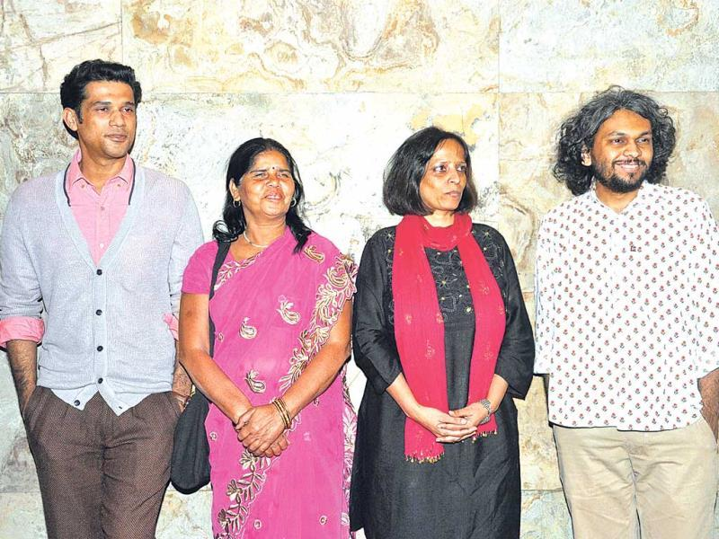 Sohum Shah, Sampat Pal Devi, Nishtha Jain and Anand Gandhi at the screening of their movie Gulabi Gang.