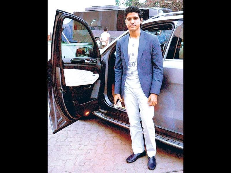 Farhan Akhtar dressed for a shoot, at Mumbai studio.