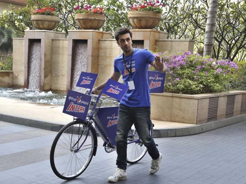 Bollywood actor Ranbir Kapoor was spotted cycling during a promotional event in Bangalore on Feb. 12, 2014. (AP Photo) Browse through.