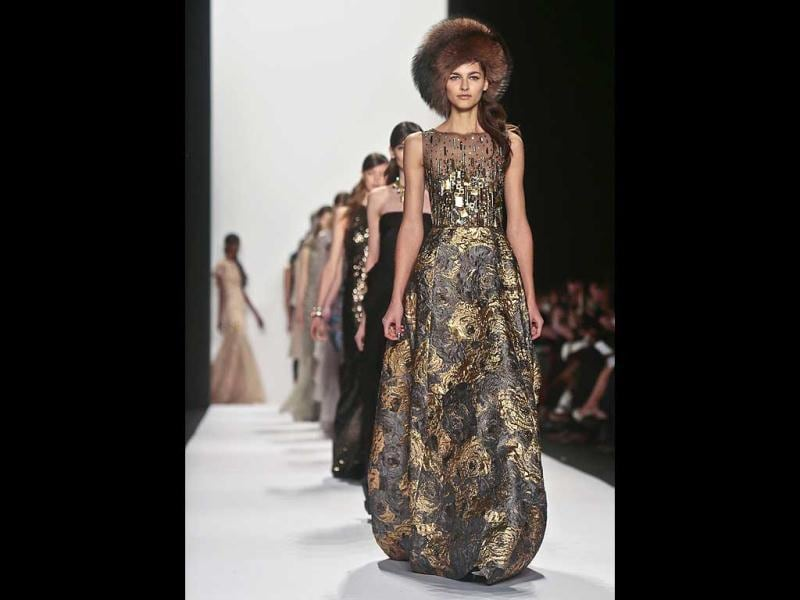Fashion from the Badgley Mischka Fall 2014 collection at New York Fashion Week. (AP)