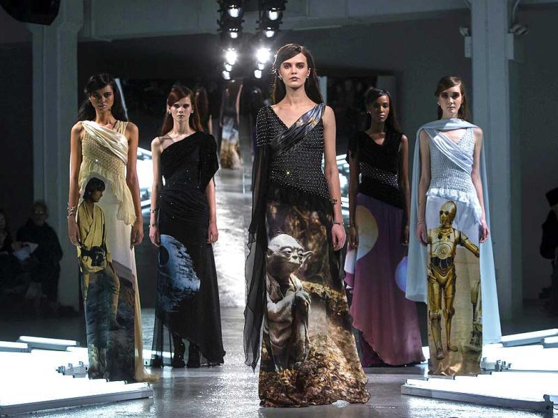 Models present creations from Rodarte's Fall/Winter 2014 collection during New York Fashion Week. (Reuters)