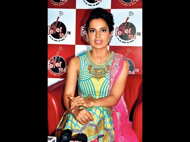 Kangana Ranaut at a press conference at the Fever 104 FM studios.