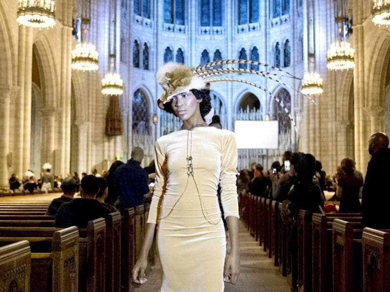 A model walks the runway at the Adrian Alicea fashion show during Mercedes-Benz Fashion Week Fall 2014 at Riverside Church in New York. (AFP)