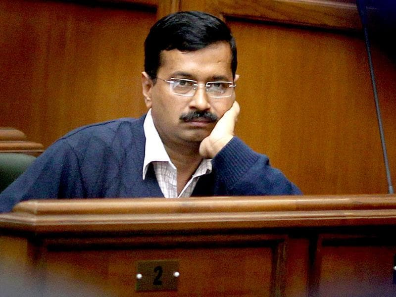 Delhi chief minister Arvind Kejriwal at a special session of the Delhi Assembly in New Delhi on February 14, 2014. (PTI photo)