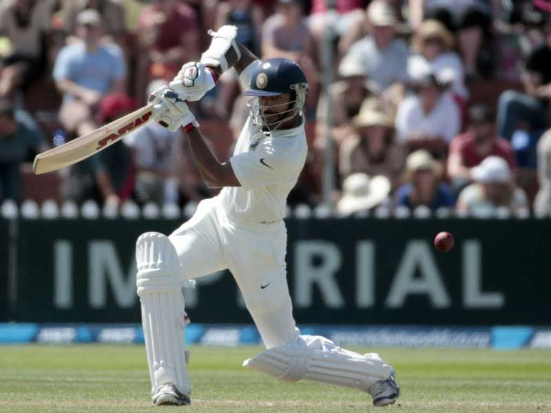 Shikhar Dhawan plays a shot against New Zealand during the first innings on Day 2 of the second Test at the Basin Reserve in Wellington. (Reuters Photo)