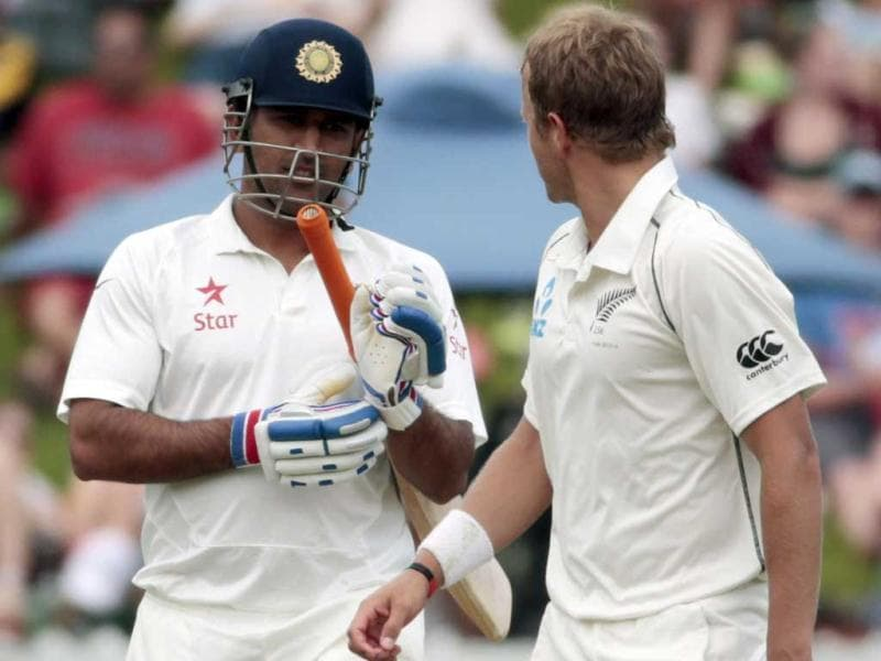 MS Dhoni (R) and New Zealand's Neil Wagner exchange words during Day 2 of the second Test at the Basin Reserve in Wellington. (Reuters Photo)
