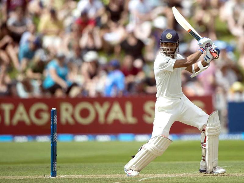 Ajinkya Rahane of India bats during Day 2 of the 2nd Test against New Zealand at the Basin Reserve in Wellington. (AFP Photo)