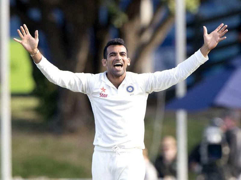 Zaheer Khan appeals for the wicket of Hamish Rutherford of New Zealand during Day 2 of the 2nd Test at the Basin Reserve in Wellington. (AFP Photo)