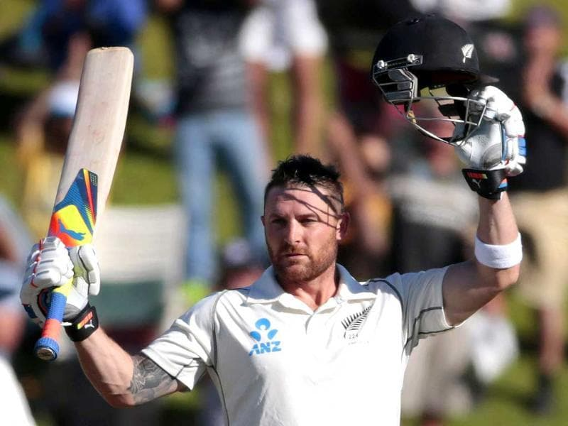 Brendon McCullum celebrates his 100 against India during the second innings on day three of the second Test at the Basin Reserve in Wellington. (Reuters Photo)