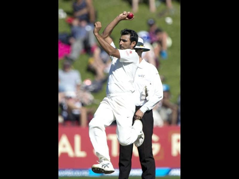 Mohammed Shami bowls during day 3 of the 2nd Test against New Zealand at the Basin Reserve in Wellington. (AFP Photo)