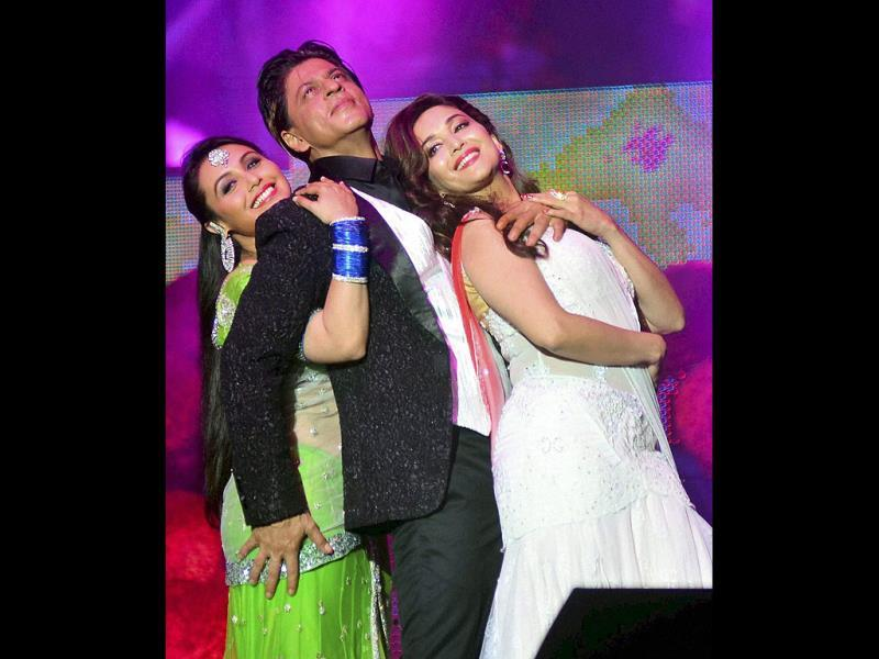 Shah Rukh Khan, Rani Mukherji, and Madhuri Dixit Nene perform during an event,Temptation Reloaded 2014 in Kuala Lumpur. (PTI Photo)