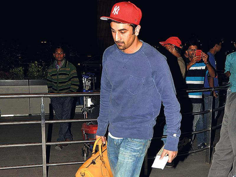 Ranbir Kapoor spotted at the Mumbai airport.