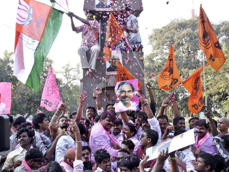 Telangana supporters in Hyderabad celebrate the passage of Telangana bill in the Lok Sabha. (HT photo)