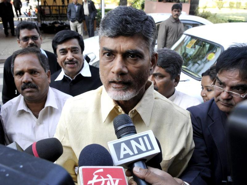 TDP chief Chandrababu Naidu attends the Parliament session ahead of the passage of Telangana bill in the Lok Sabha. (HT photo/Sonu Mehta)