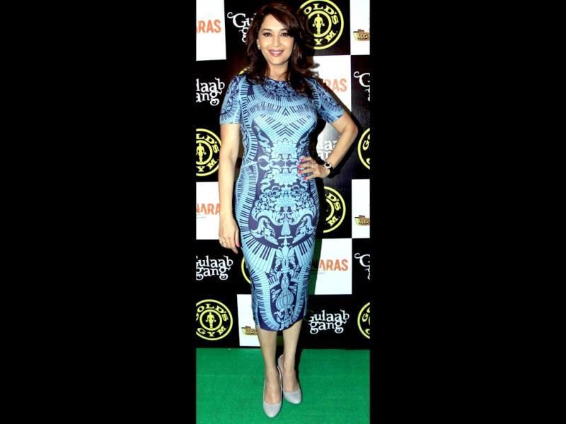 Madhuri Dixit Nene strikes a pose during the promotion of Gulaabi Gang. (AFP Photo)