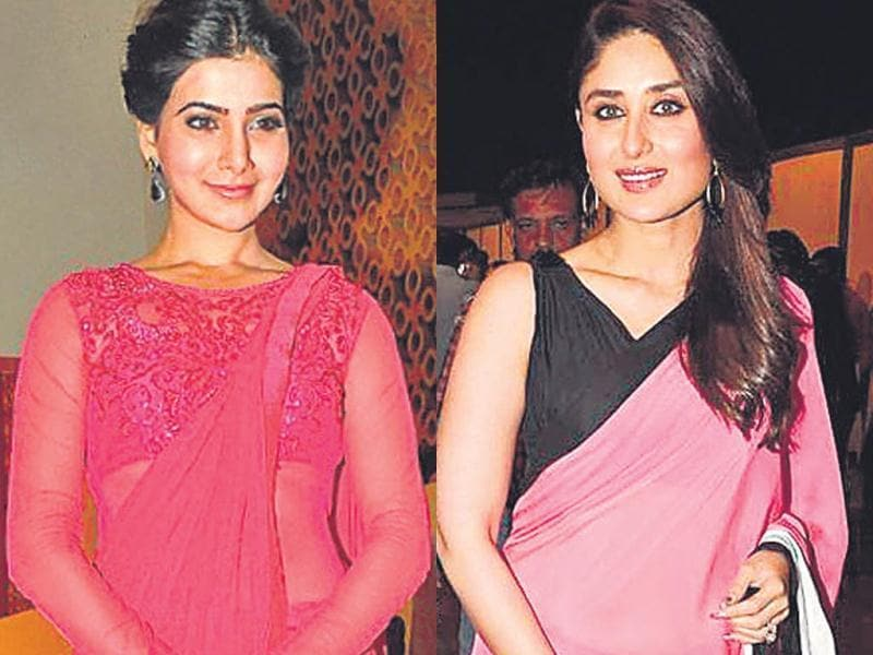 Actor Samantha Prabhu is a pretty picture in an edgy-yet-pretty fuchsia lace blouse (right). A dash of pink glams up actor Kareena Kapoor Khan's monotone sari.