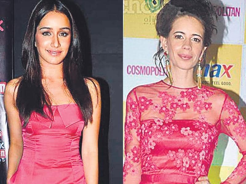 Actor Shraddha Kapoor goes minimal with her fuchsia jumpsuit (right). Flower motifs and a neat updo add a cute edge to actor Kalki Koechlin's outfit.