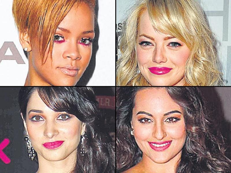 Singer Rihanna goes pop by lining her waterline in this hue, actor Emma Stone goes glossy with her take on this hue, Sonakshi Sinha makes the fuchsia pop and actor Tamannaah Bhatia opts for matte lips in fuchsia (clockwise).