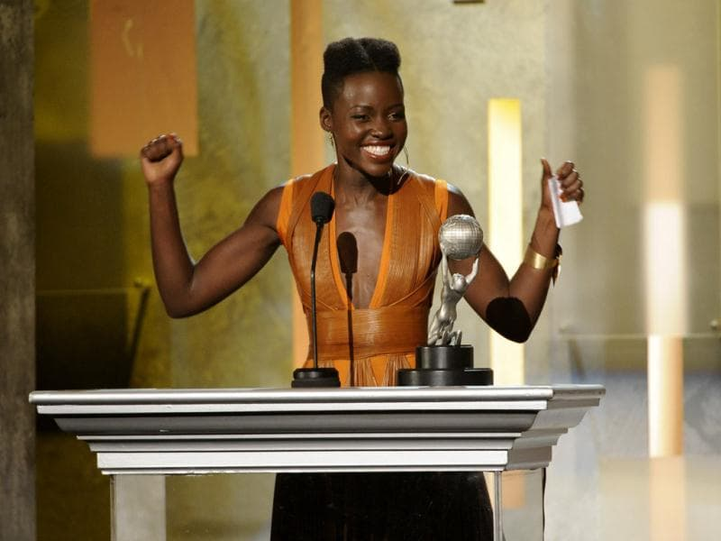 A cheery Lupita Nyong'o accepts an award in California, US. (AP)