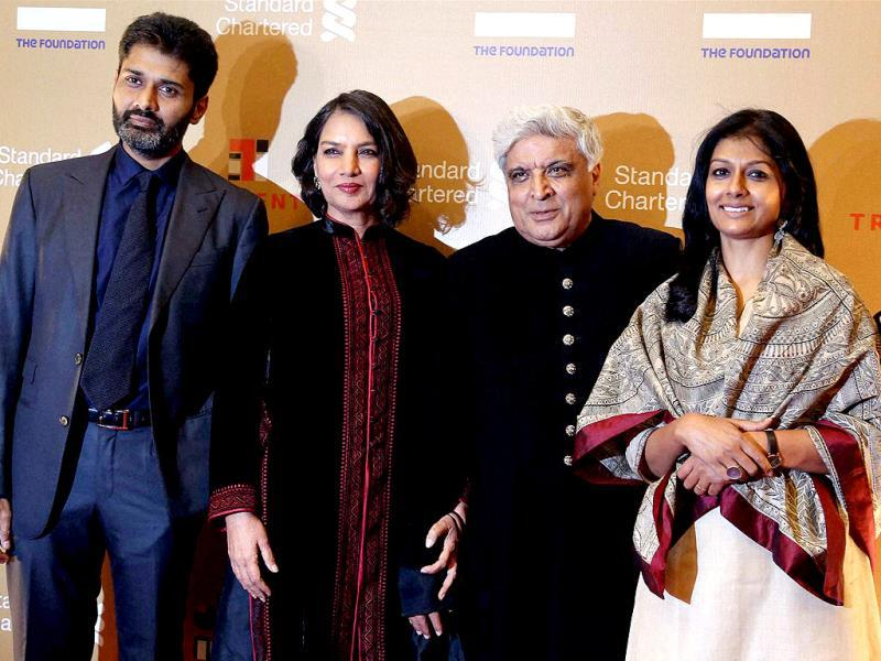 Bollywood actress Shabana Azmi along with Javed Akhtar, Nandita Das and her husband Subodh Maskara (L) at an event in Mumbai on Saturday night. (PTI Photo)