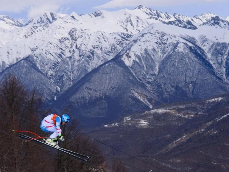 Austria's Matthias Mayer competes during the Men's Alpine Skiing Downhill at the Rosa Khutor Alpine Center during the Sochi Winter Olympics. AFP