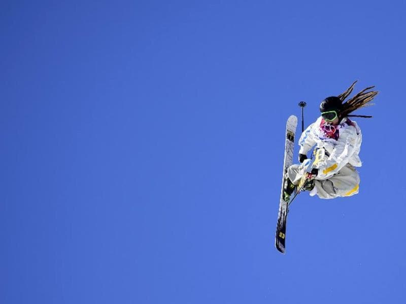 Sweden's Henrik Harlaut competes in the Men's Freestyle Skiing Slopestyle finals at the Rosa Khutor Extreme Park during the Sochi Winter Olympics. AFP PHOTO