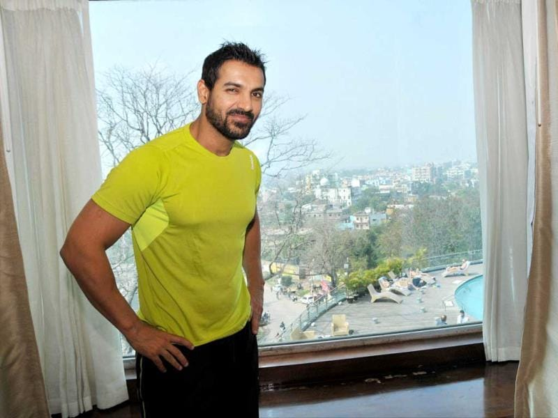 Delhi Waveriders co-owner John Abraham in Ranchi on Monday. (PTI Photo)