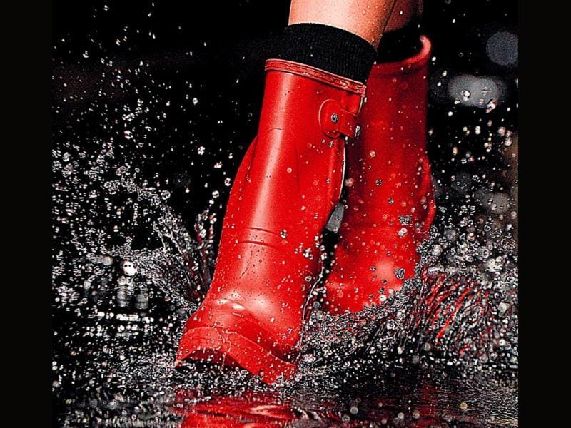 Rubber rain boots in bright hues made a big splash at Hunter's show at London Fashion Week Fall 2014. If you want a sporty chic look, this is your pick.