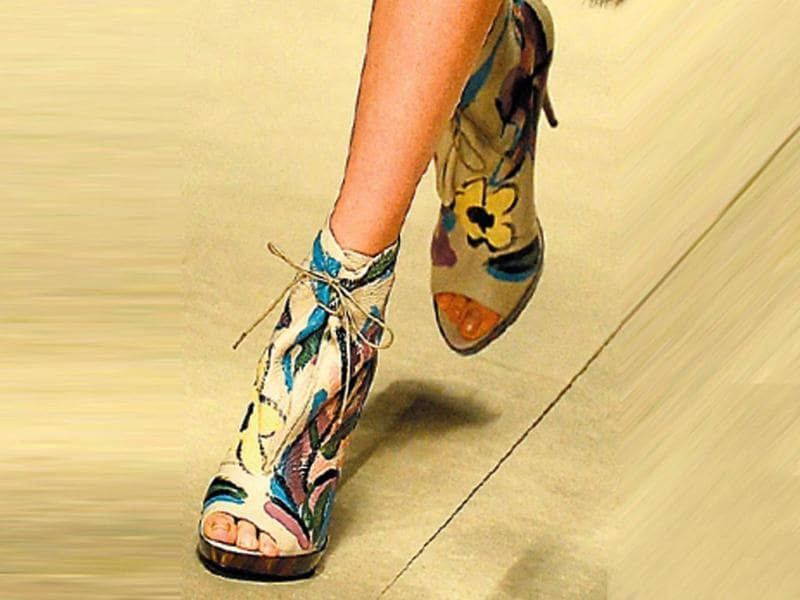 Everything at Burberry Prorsum's show at London Fashion Week Fall 2014 was hand-painted, including footwear. These tribal print pointed heels would go well with western ensembles.