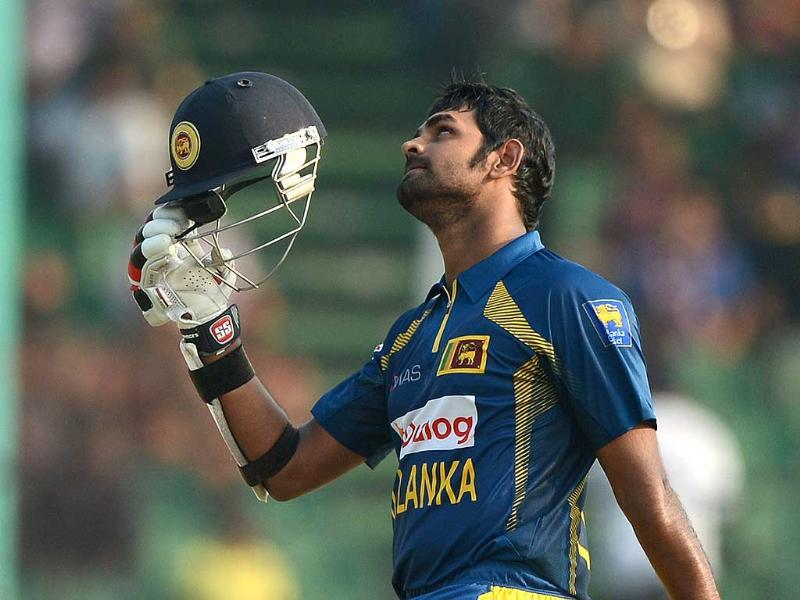 Sri Lankan batsman Lahiru Thirimanne celebrates scoring a century (100 runs) during the opening match between Pakistan and Sri Lanka of the Asia Cup one-day tournament at the Khan Shaheb Osman Ali Stadium in Fatullah, on the outskirts of Dhaka (AFP Photo)