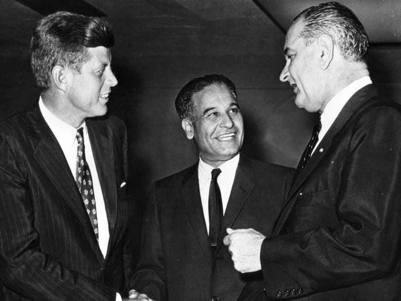 Congressman Dalip Singh Saund, with senators John F Kennedy and Lyndon B Johnson, 1958. (Photo courtesy: Eric Saund)