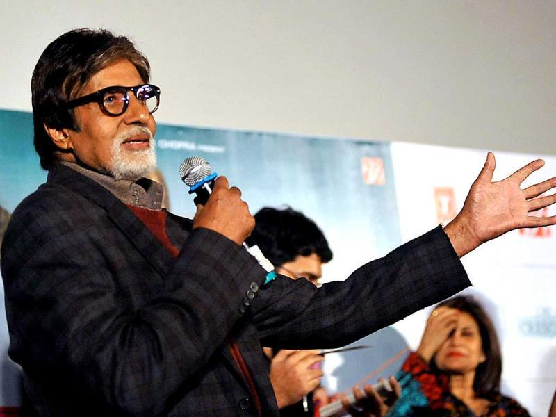 Amitabh Bachchan speaks at the Bhoothnath Returns trailer launch event.