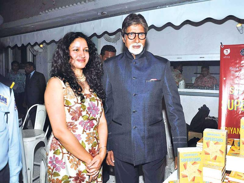 Author Priyanka Sinha Jha poses with Amitabh Bachchan who launched her book Supertraits of Superstars in Mumbai.