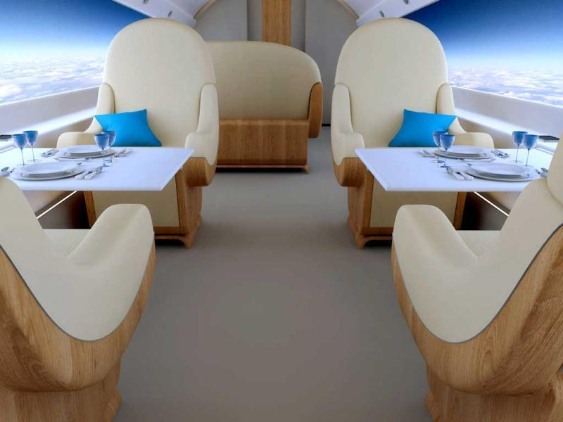 A wider look at the interior cabin of the S-512. The luxury aircraft is being pitched for business travelers.