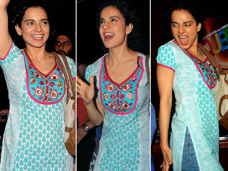 Kangana was also spotted promoting Queen in her trademark style.