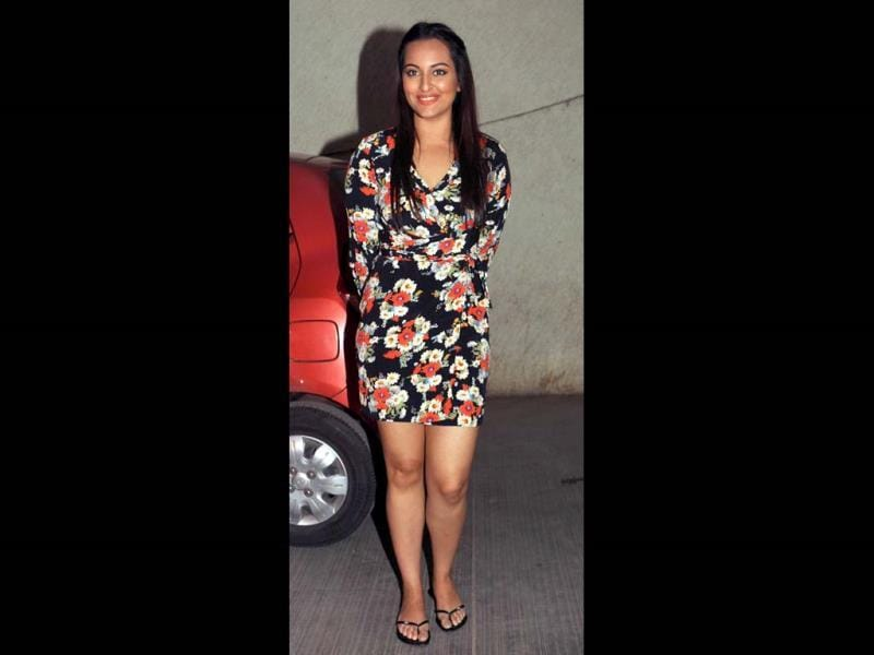Sonakshi Sinha in a short floral dress. (AFP)