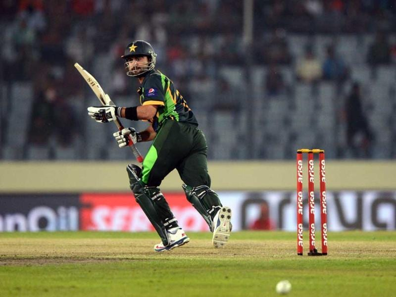Pakistan cricketer Ahmed Shehzad plays a shot during the sixth match of the Asia Cup against India at the Sher-e-Bangla National Cricket Stadium Mirpur. (AFP Photo)