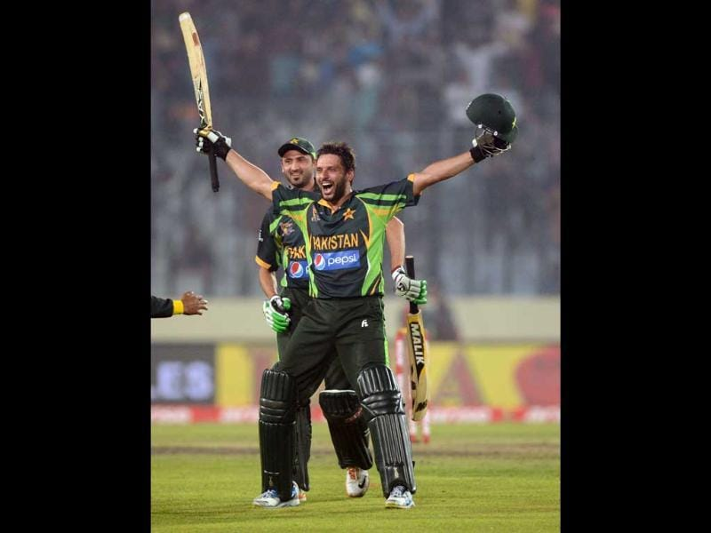 Pakistan cricketer Sahid Afridi reacts after winning the sixth match of the Asia Cup against India at the Sher-e-Bangla National Cricket Stadium in Mirpur. (AFP Photo)