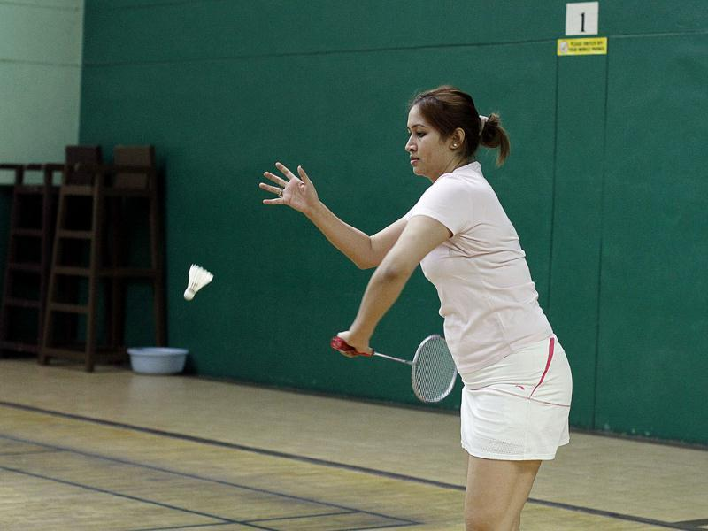 Badminton player Jwala Gutta during a training session at LG Stadium, in Hyderabad, India on Tuesday, February 25, 2014. (Photo by Sanjeev Verma/ Hindustan Times)
