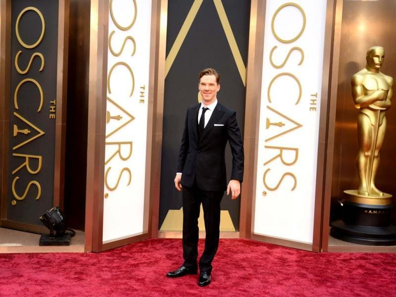 Benedict Cumberbatch arrives at the Oscars on Sunday, March 2, 2014, at the Dolby Theatre in Los Angeles. (AP Photo)