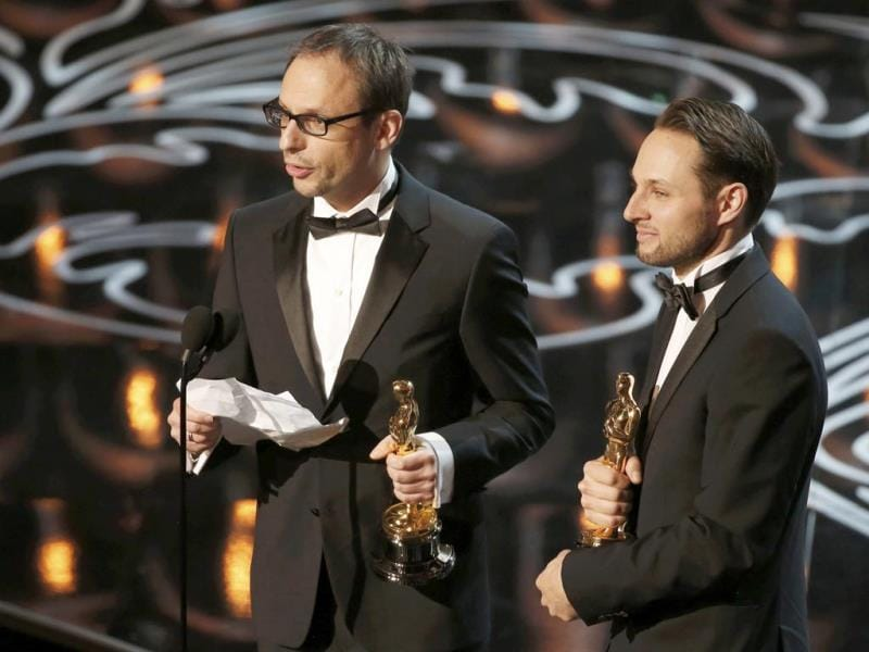 Laurent Witz and Alexandre Espigares, best animated short film winners for Mr. Hublot.